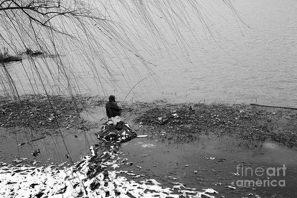 Wall Art - Photograph - Lake Fisherman In The Snow by Dean Harte