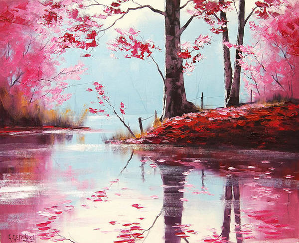 Realist Painting - Lake Reflections by Graham Gercken