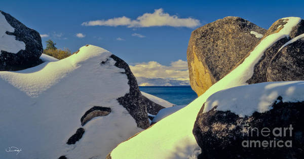 Wall Art - Photograph - Lake Tahoe Snow Rocks by Vance Fox