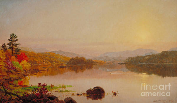 Turning Painting - Lake Wawayanda by Jasper Francis Cropsey