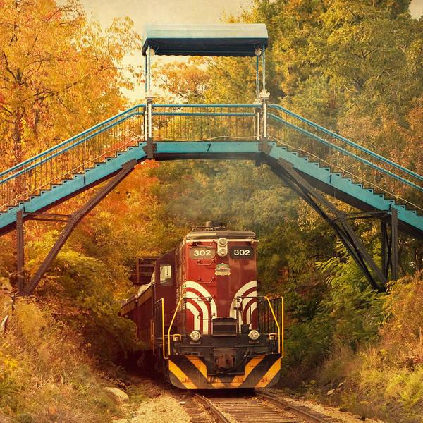Lake Winnipesaukee Wall Art - Photograph - Lake Winnipesaukee New Hampshire Railroad Train In Autumn Foliage by Stephanie McDowell