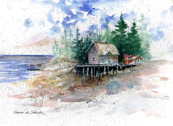 Sand Creek Painting - Lakeside Shack by Steven W Schultz