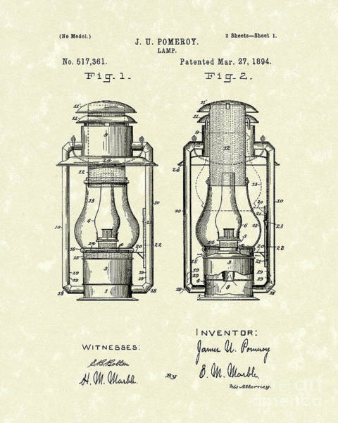 Drawing - Lamp Pomeroy 1894 Patent Art by Prior Art Design