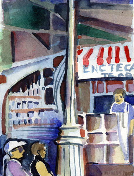 Wall Art - Painting - Lamp Post In The Cafe by Mindy Newman