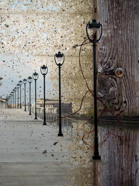 Digital Art - Lamp Posts Concrete And Wood by Anita Burgermeister