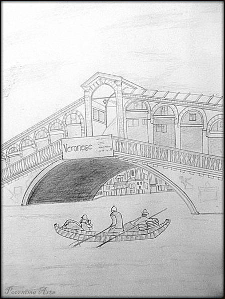 Land Mark Drawing - Land Mark   San Marco Square  Venice by Poornima M