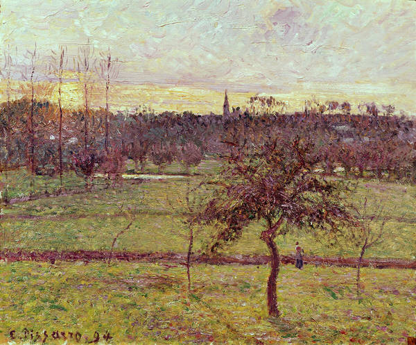 Plowing Painting - Landscape At Eragny by Camille Pissarro