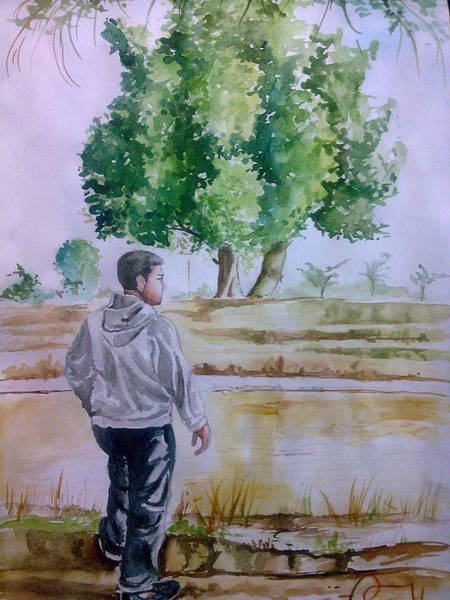 Ganesh Drawing - Landscape Of Water Colour Self Standing In Painting Ganesh Art Maurya by Ganesh Art Maurya