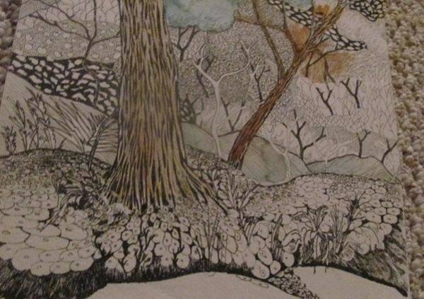 Organic Abstraction Drawing - Landscape by Pat Ramsden