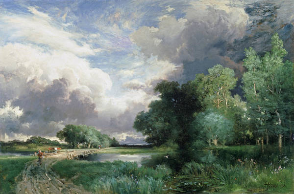 Riverbank Painting - Landscape With A Bridge by Thomas Moran