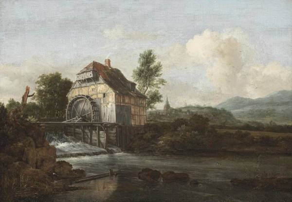 Wall Art - Painting - Landscape With A Watermill by Jacob Isaaksz Ruisdael