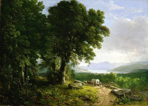 Pioneer School Wall Art - Painting - Landscape With Covered Wagon by Asher Brown Durand
