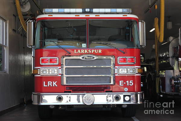 Photograph - Larkspur Fire Department Fire Engine - Larkspur California - 5d18474 by Wingsdomain Art and Photography