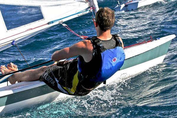 Racing Yacht Photograph - Laser Sailboat Racing by Steven Lapkin