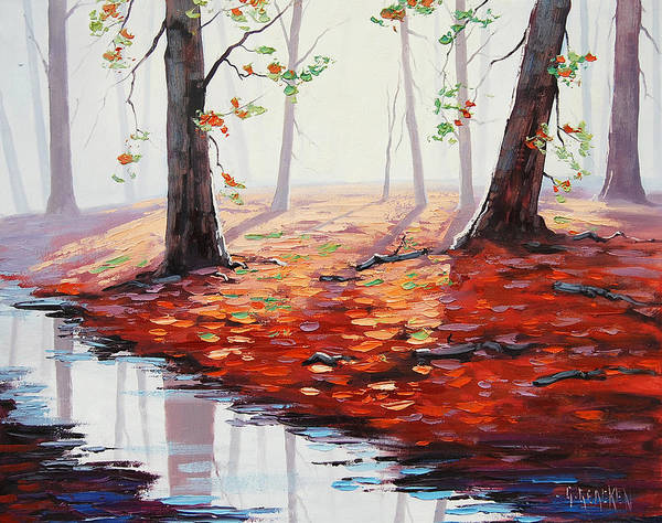 Maple Leaf Painting - Last Autumn Days by Graham Gercken