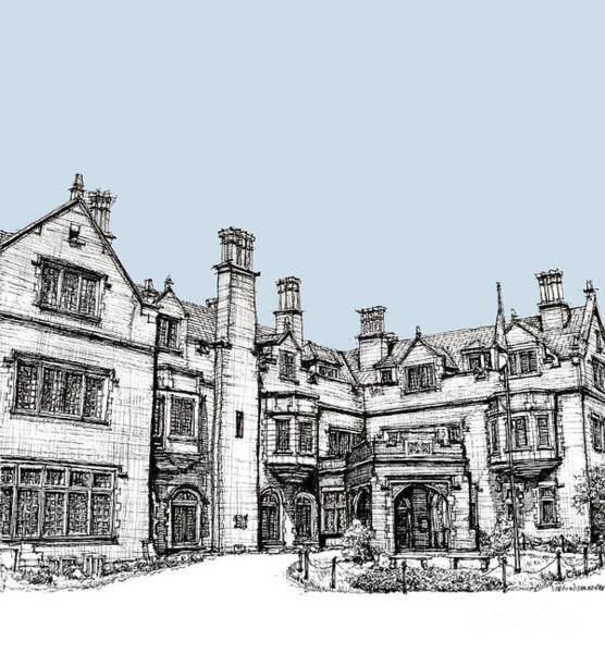 Planner Wall Art - Drawing - Laurel Hall In Light Blue by Building  Art