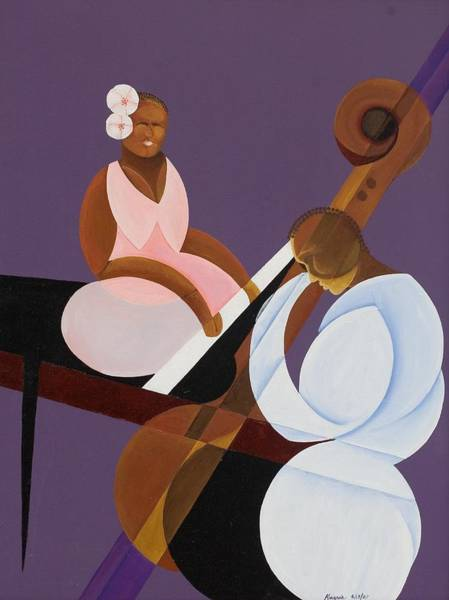 Bass Player Wall Art - Painting - Lavender Jazz by Kaaria Mucherera
