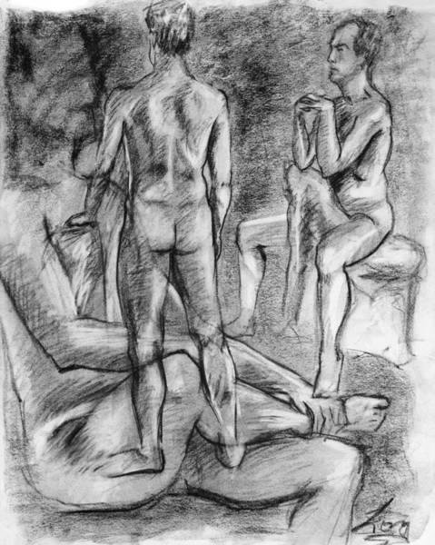Male Model Drawing - Layered Man Figure Study by Adam Long