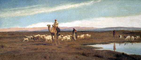 Dromedary Wall Art - Painting - Leading The Flock To Pasture by Frederick Goodall