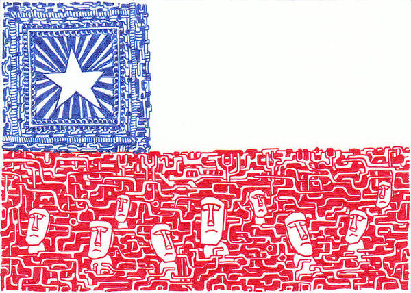 Flag Of Chile Wall Art - Drawing - Legend Of Chile by Daisuke Okamoto