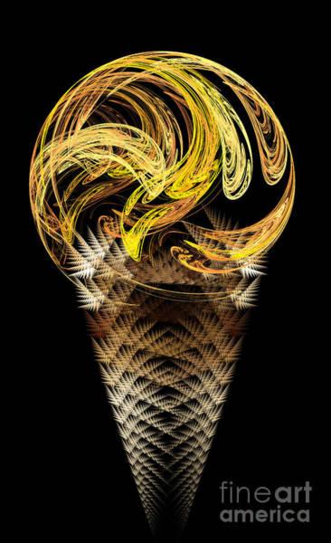 Ice Cream Cones Digital Art - Lemon Ice Cream Cone by Andee Design