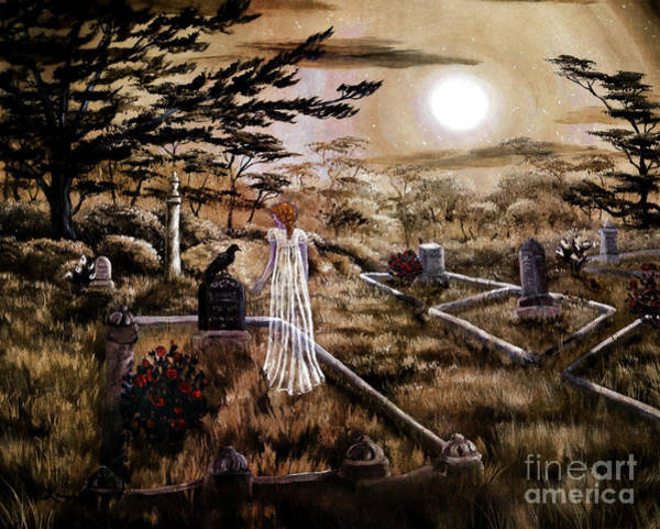 Cemetery Digital Art - Lenore With Red Roses by Laura Iverson