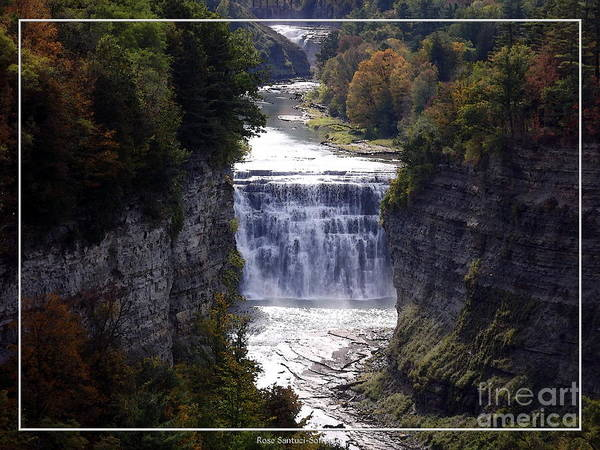 Photograph - Letchworth State Park Middle Falls With Watercolor Effect by Rose Santuci-Sofranko