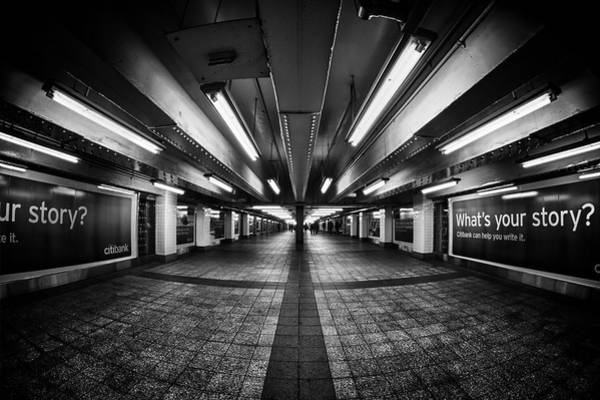 Fisheye Photograph - Life Between The Exit Signs by Evelina Kremsdorf