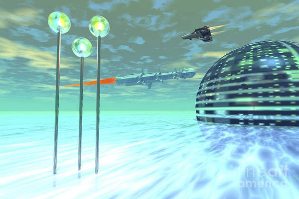 Digital Art - Life Under Domes On An Alien Waterworld by Corey Ford