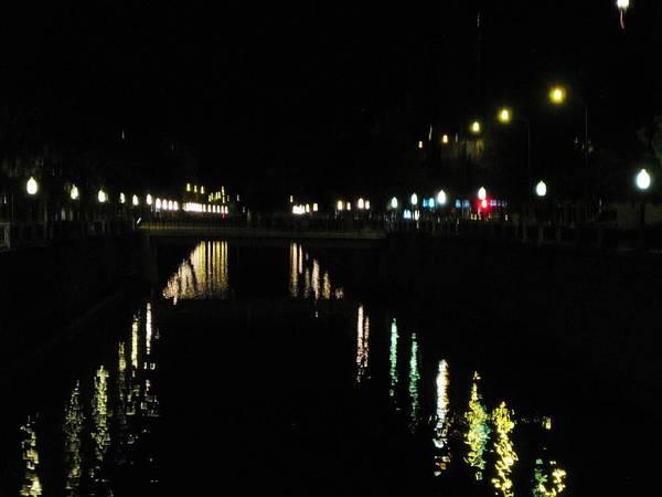 Photograph - Light Illumination Reflection In The River At Night Granada Spain by John Shiron