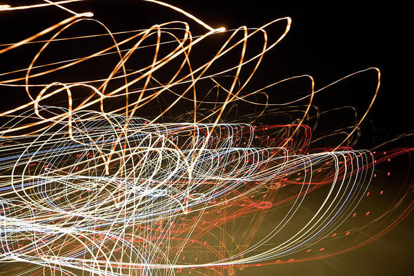 Horizontal Abstract Photograph - Light Trails At Night by Frederick Bass