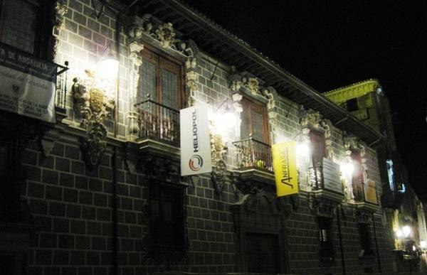 Photograph - Lighted Balconies Street Lights At Night Granada Spain by John Shiron