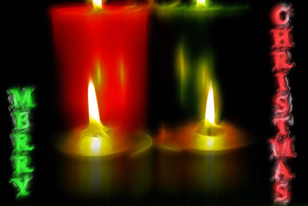 Christmas Season Wall Art - Photograph - Lighted Christmas Candles - Merry Christmas by Steve Ohlsen