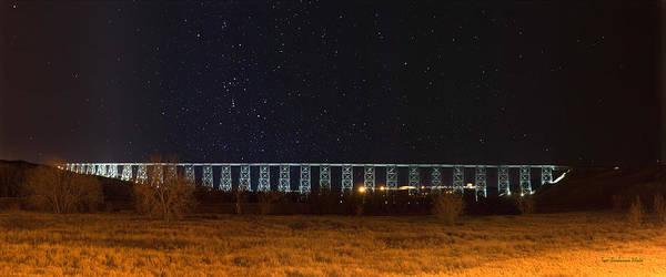 Centennial Bridge Photograph - Lighted High Level Bridge by Tom Buchanan