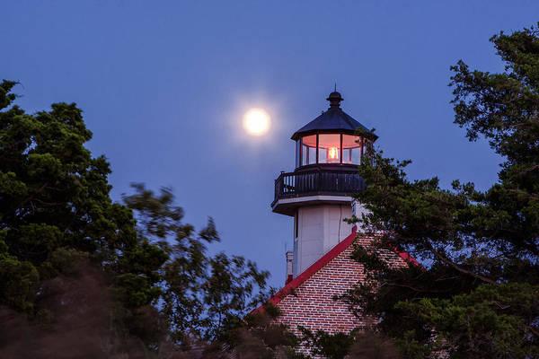 Photograph - Lighthouse Full Moon by Tom Singleton