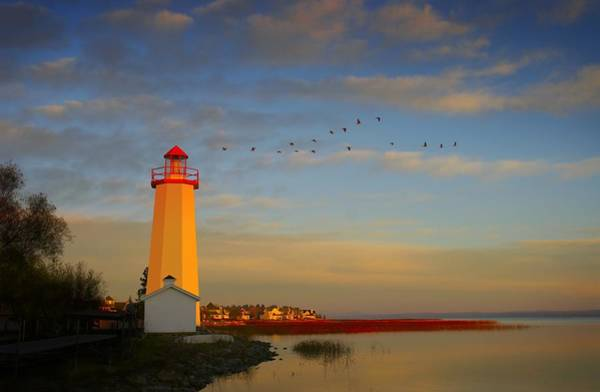 Oceanfront Photograph - Lighthouse, Sylvan Lake, Alberta, Canada by Christine Mariner