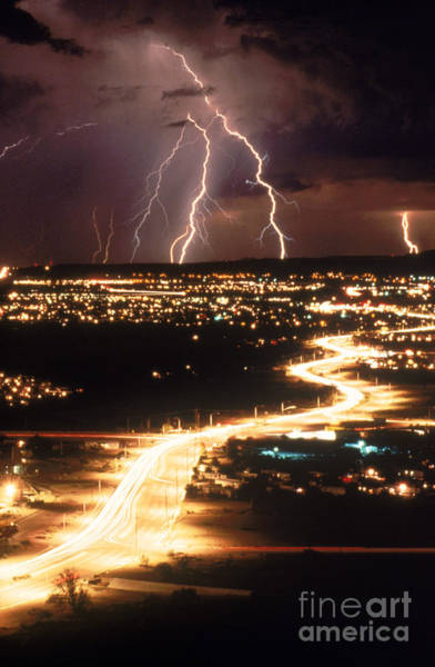Photograph - Lightning Storm by Kent Wood and Photo Researchers
