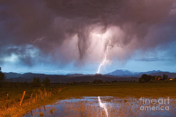 Photograph - Lightning Striking Longs Peak Foothills 3 by James BO Insogna