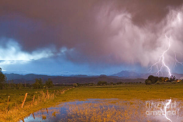 Photograph - Lightning Striking Longs Peak Foothills 7 by James BO Insogna