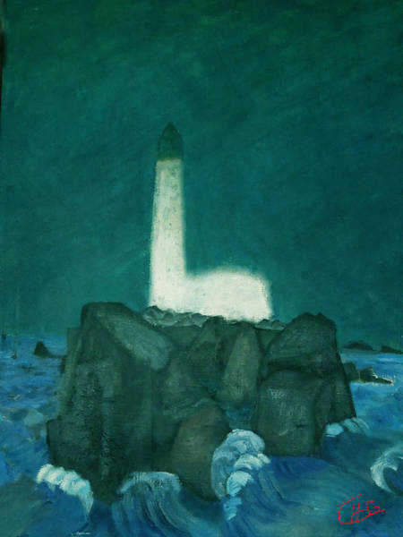 Painting - Ligth House Isolation On Island by Colette V Hera  Guggenheim