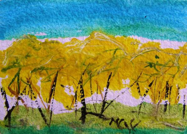 Forsythia Painting - Like A Wall-forsythia by Mary Carol Williams