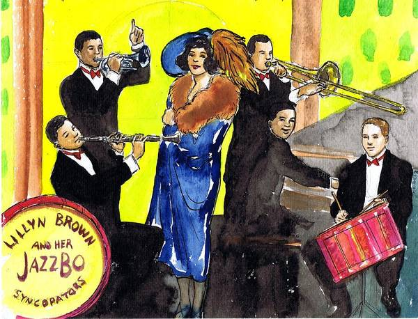 Flappers Drawing - Lillyn Brown And Her Jazzbo Syncapators by Mel Thompson
