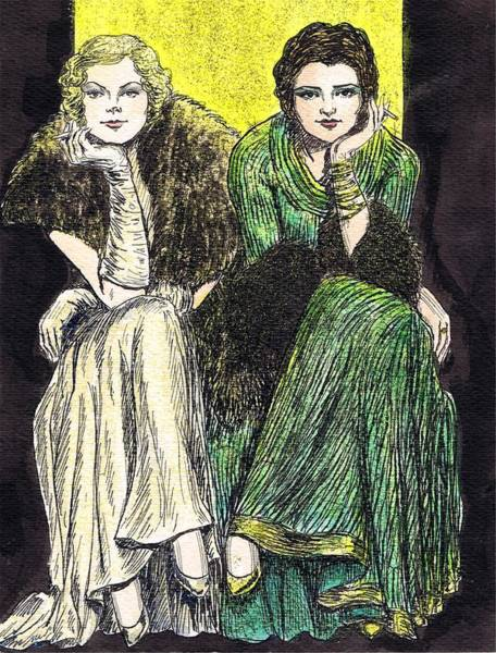 Flappers Drawing - Lilyan And Kay by Mel Thompson