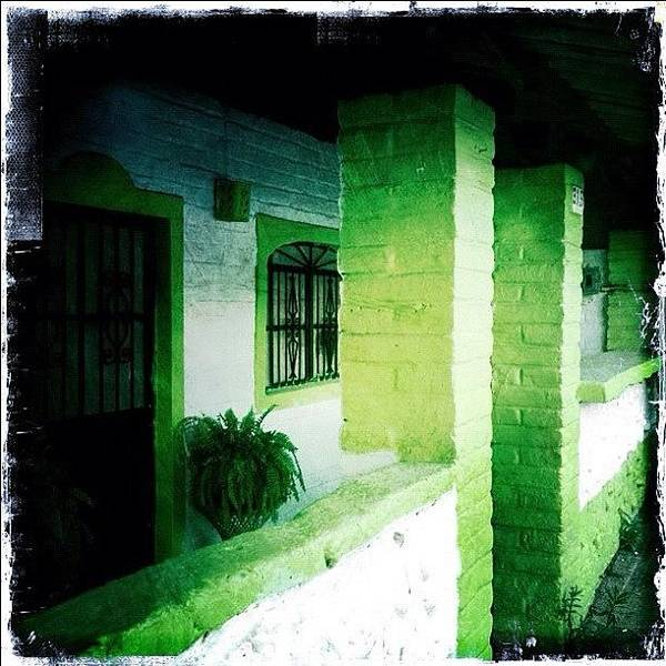 Colorful Wall Art - Photograph - Lime Green & White House (puerto by Natasha Marco