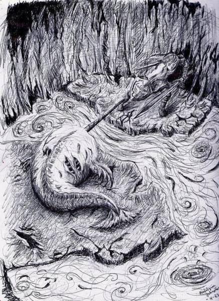 Lava Drawing - Link Vs. Narwhal by Katelynn Johnston