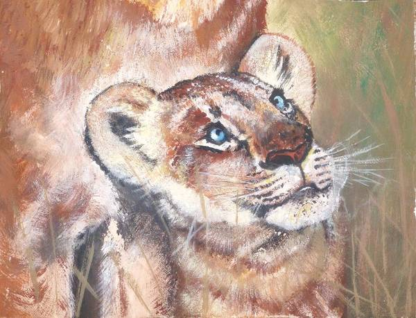 King Size Painting - Lion Cub by Cecilia Putter