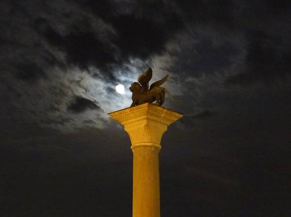 Photograph - Lion Of St Mark By Moonlight by Keith Stokes