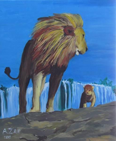 Victoria Falls Painting - Lions by Alex Zak