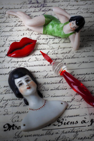 Lips Photograph - Lips Pen And Old Letter by Garry Gay