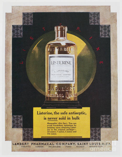Wall Art - Photograph - Listerine Ad, 1925 by Granger